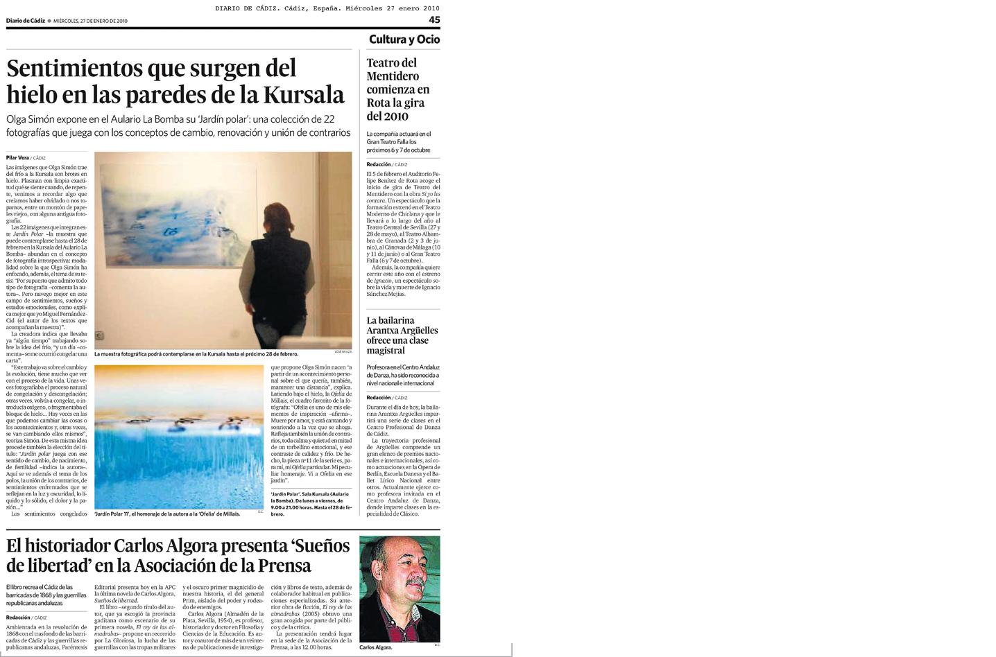 Olga Simón, Jardín polar, Cádiz. Diario de Cádiz. Pilar Vera