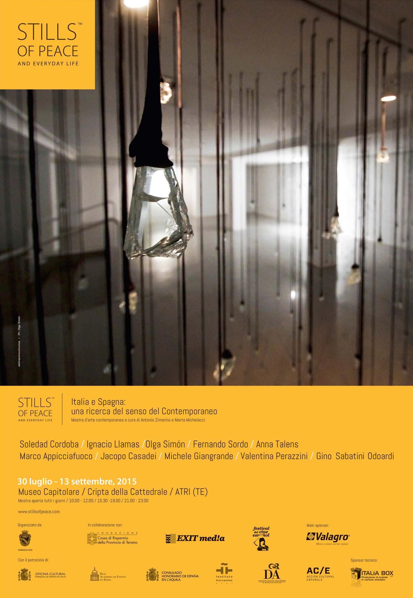 Poster Stills of peace exhibition exposición - Olga Simón, Atri Italy italia